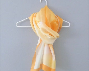 50% OFF SALE Vintage Orange Silk Scarf / Fabulous Yellow and Orange Angels Long Length Head Scarf