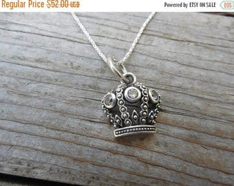 ON SALE Crown necklace in sterling silver with three cz's