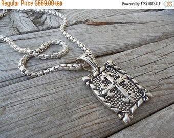 ON SALE Very large medieval cross necklace handmade in sterling silver