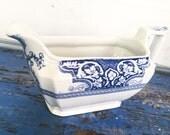 Vintage Blue White Gravy Boat Pitcher
