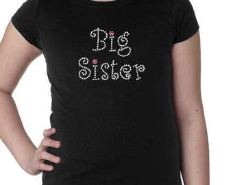Big Sister Rhinetone Girls Tee with Optional Personalization