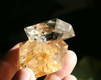 Smokey Golden Healer Herkimer Diamond from New York Quartz Crystal Cluster Specimen with Triagonic Record Keeper