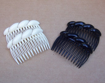 4 Vintage mid century black white celluloid hair combs hair accessory hair jewelry hair ornament decorative comb