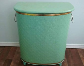 Vintage Metal Hamper, Detecto 1950s Sea Foam Mint Green with Tapered Feet