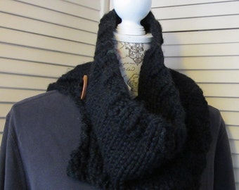 Black Cowl with neck Button.