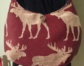 Burgundy moose satchel