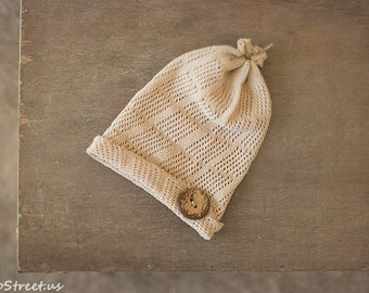 Baby Button Hat, Baby Hat, Baby Boy Hat, Beanie, Newborn Hat, Tan Hat, Light Brown Hat, Baby Photo Prop, Newborn Props, Baby Props, RTS