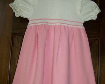 Vintage Girl's Summer Dress - Size 4T - Spring/Fall/Winter - Short Sleeve Knit - Pink & White - 1980s - Little World Knits - Made in USA