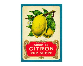 "Antique French Lemon Print, 5"" x 7"" Wall Art, Vintage Citron Wall Accent,  Sirop de Citron, Kitchen Wall Art Paper, Country Art Print 16-59"