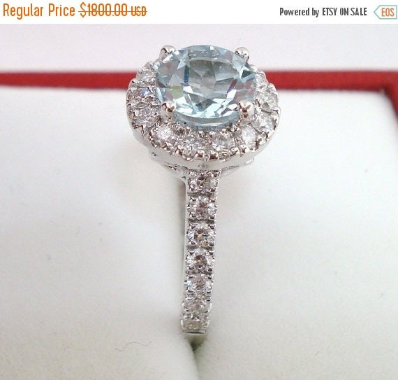 ON SALE 18K White Gold Aquamarine & Diamond Engagement Ring 1.56 Carat HandMade Halo