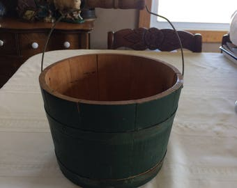 Vintage Firkin Sugar Bucket Green Spalding and Frost of Fremont, NH