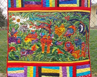 Laurel Burch Jungle Print Baby or Crib Quilt