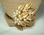 RESERVED for Amy C  TRIFARI Vintage Golden Leaf Cluster Pin with Tiny sparkling Rhinestones and Faux Pearls.