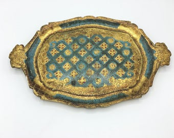 Vintage Florentine Tray, Oval Vanity Tray, Gold & Teal Blue, Red