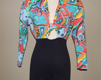 80s Contempo Casuals Colorful Stretchy Jumpsuit Size S Bust 36 Waist 24 to 26