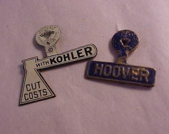 2 Political Campaign Tin Tabs Hoover Kohler