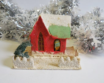 Vintage Putz House Christmas Red cathedral window white snow glitter  tree light up miniature