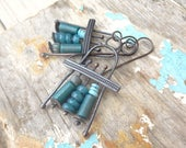 Teal Mix Bead Summer Rustic Copper Earrings