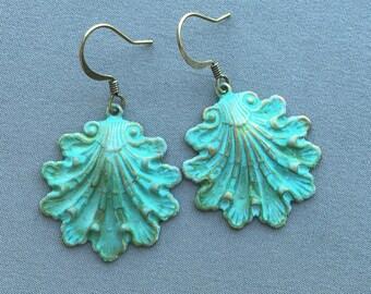 Shell Earrings - Seashell Earrings - Beach Earrings - Ocean Earrings - Ocean Jewelry - Beach Jewelry - Verdigris Earrings - Boho Earrings
