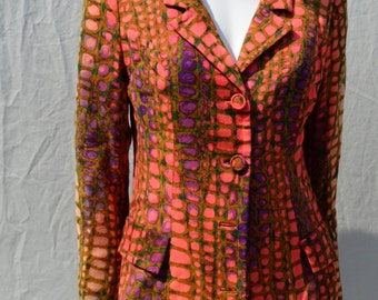 Vintage 60's jacket MOD space age psychedelic animal pattern wild neon croc pattern Small by thekaliman