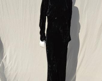 Vintage 30's silk velvet gown ART DECO bias cut large long dress evening formal by thekaliman