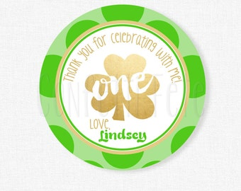 Shamrock Favor Tags, St. Patrick's Day Birthday Favors, Green and Gold First Birthday, Personalized
