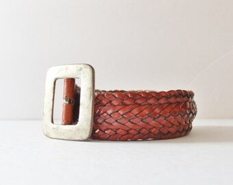 50% half off sale // Vintage 80s Wide Woven Leather Belt - Medium Women - Timberland