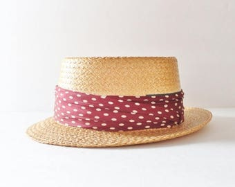 60% off sale // Vintage 40s Hard Straw Boater Hat with Maroon Dot Ribbon - made by Pilgrim