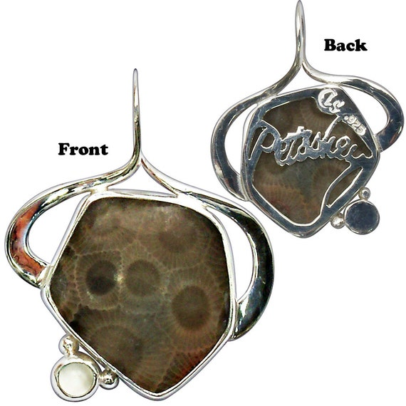 Petoskey Stone and Moonstone Pendant, Sterling Silver, Petoskey cut into back plate  ppkyh2760