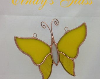 Stained Glass 3-D ButterflyYellow Suncatcher