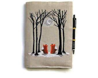 A5 notebook and pen, fox notebook, fox gift set, personalised journal cover, embroidered linen two foxes in a moonlit winter woodland scene.