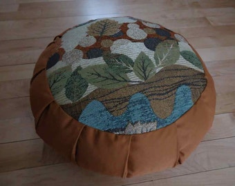 Meditation cushion with a beautiful Autumn color Leaf pattern circle and Ginger sides and back