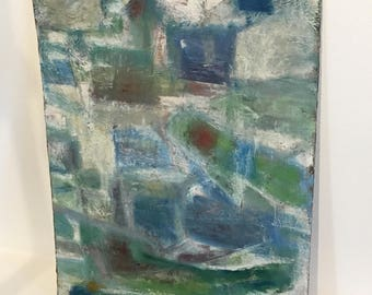 Midcentury Swedish Oil Abstract Painting Segal 1960s Pastel Colors