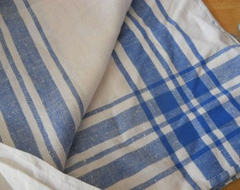 Vintage tablecloth, lined, white with blue stripe
