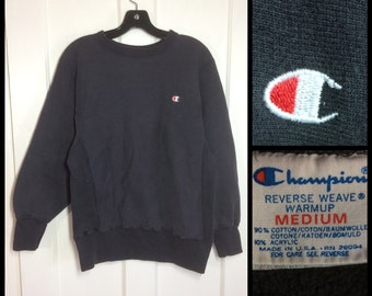 1980s faded black Plain Champion brand Reverse Weave Sweatshirt size medium Pullover Blank Logo made in USA cloth tag