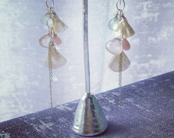 Mother of pearl and gemstone earrings