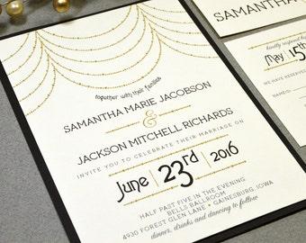 Roaring Twenties Wedding Invitation Suite - Draped Beads Wedding Invites - Art Deco Wedding Invitations - Black and Gold Wedding Pocket Set