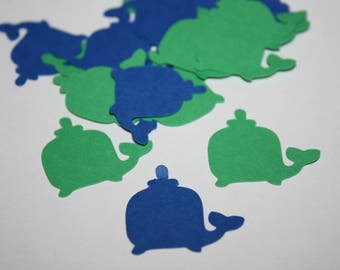 200 pieces Whale Die Cut Confetti Table Decor - Green and Blue