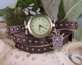 Dark Brown Brass Studded Genuine Triple Wrap Leather Wrap Wrist Watch - Silver Owl Charm -