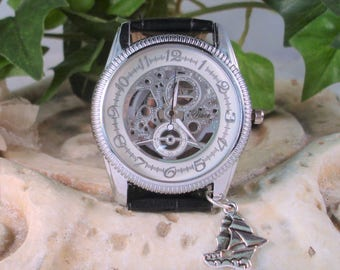 Medium Weight Steampunk Watch Silver and White Linen See Thru Dial- Looks Like Mechanical Wrist Watch - Ship Charm - Skeleton Dial   A 392