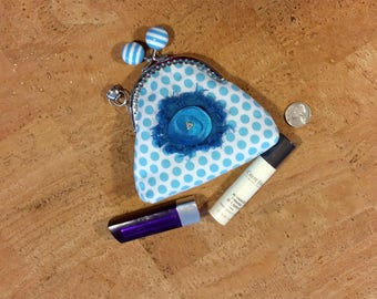 Coin purse, metal kiss push lock stripped frame, 100% cotton, turquoise and white poke a dots, unique emblem with beads