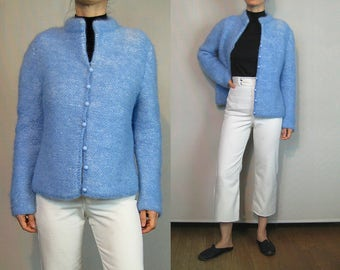 60s Cornflower n White Mohair Cardigan / Light Blue Mohair Cardigan / Blue Mohair Sweater / Marled Wool Cardigan