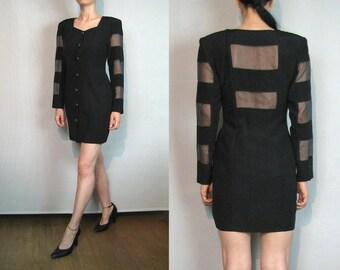 Coming Soon Avant Garde CUT OUT Mini Dress / 80s Black Nude Illusion Striped Mesh Dress
