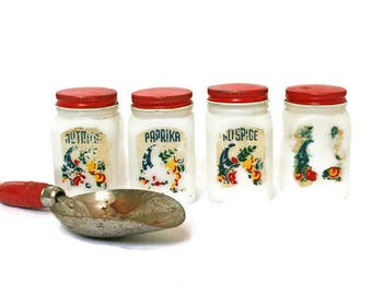 Vintage Spice Jars  /  White Milk Glass Containers with Red Lids  /  Red Scoop with Wood Handle  / Red Kitchen Display or Decor