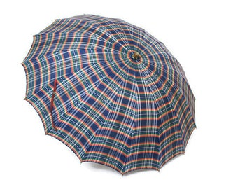 Vintage Umbrella  /  Ladies Parasol in Blue Red Green and White Plaid  /  Mens Bumbershoot  /  Prop Display or Home Decor