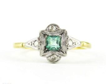 Art Deco Emerald & Diamond Engagement Ring, Square Cut Emerald in Diamond Engraved Setting. Circa 1920s, 18ct Platinum.