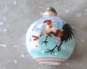 Vintage Snuff Bottle / Artistic Snuff Bottle / Hand Painted Snuff Bottle / Rooster / Collectible Art / Snuff Bottle/ Asian Porcelain Art