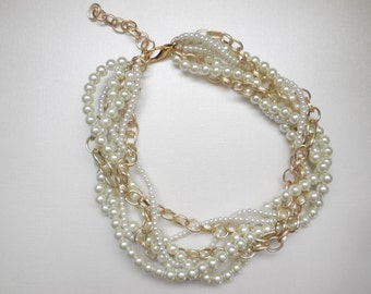 White pearl gold chain chunky twisted statement necklace