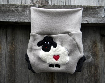 Upcycled Merino Wool Soaker Cover Diaper Cover With Added Doubler Cream/ Gray With Baa Baa Sheep Applique SMALL 3-6M