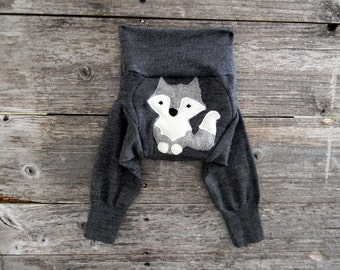 NEWBORN Upcycled Merino Wool Longies Soaker Cover Diaper Cover With Added Doubler Gray With Wolf Applique NEWBORN 0-3M